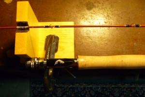 fiberglasss fly rod and grip on turner