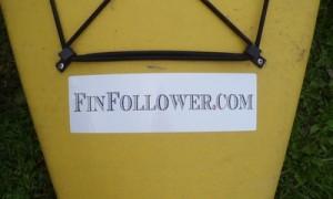 FinFollower sticker on kayak